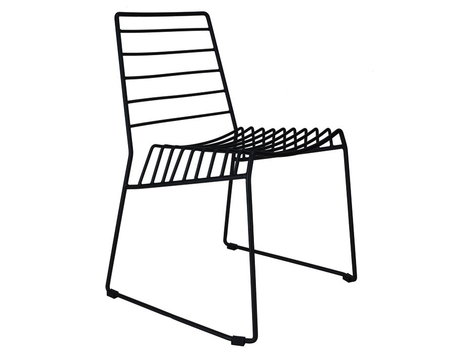 Modern Wire Dining Chair In Black Black Metal Cafe Chair
