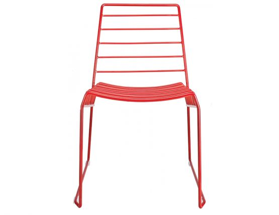 Contemporary Wire Dining Chair In Red Outdoor Red Metal