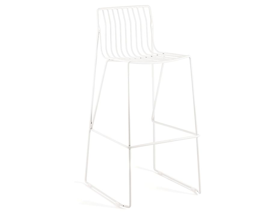 White Contemporary Wire Barstool Metal Outdoor Cafe Stool