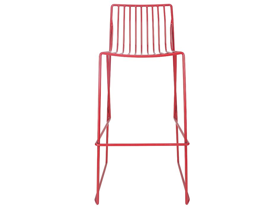 Red Modern Wire Counter Stool Indoor Outdoor Metal Barstool