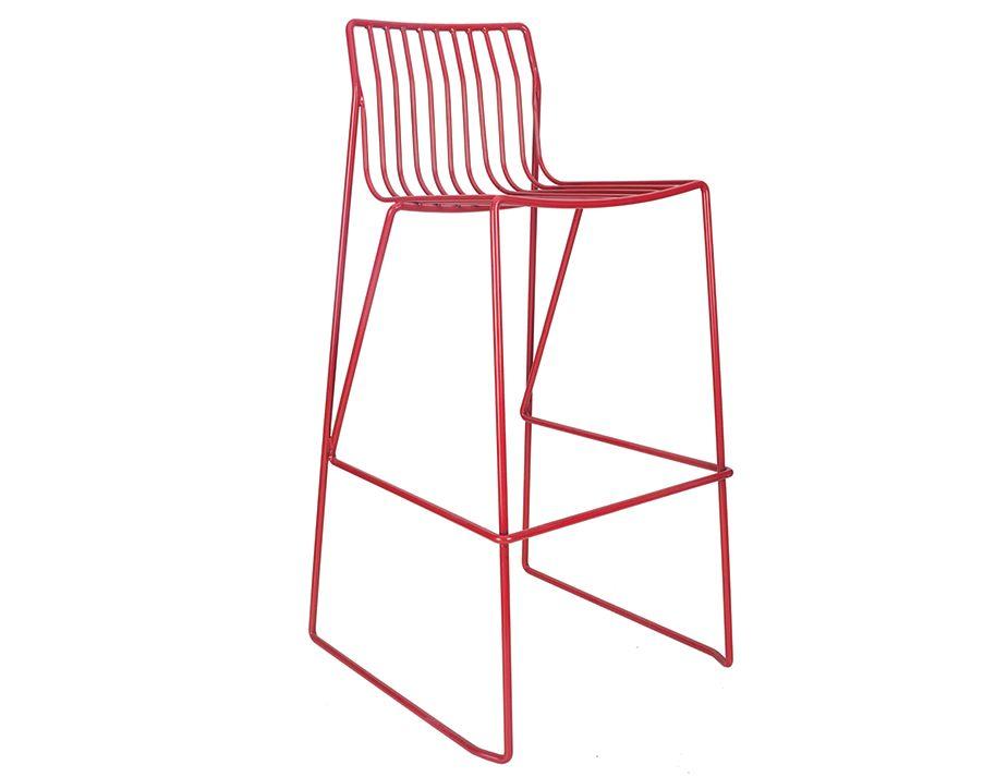 Red Modern Wire Counter Stool Indoor Outdoor Metal Barstool