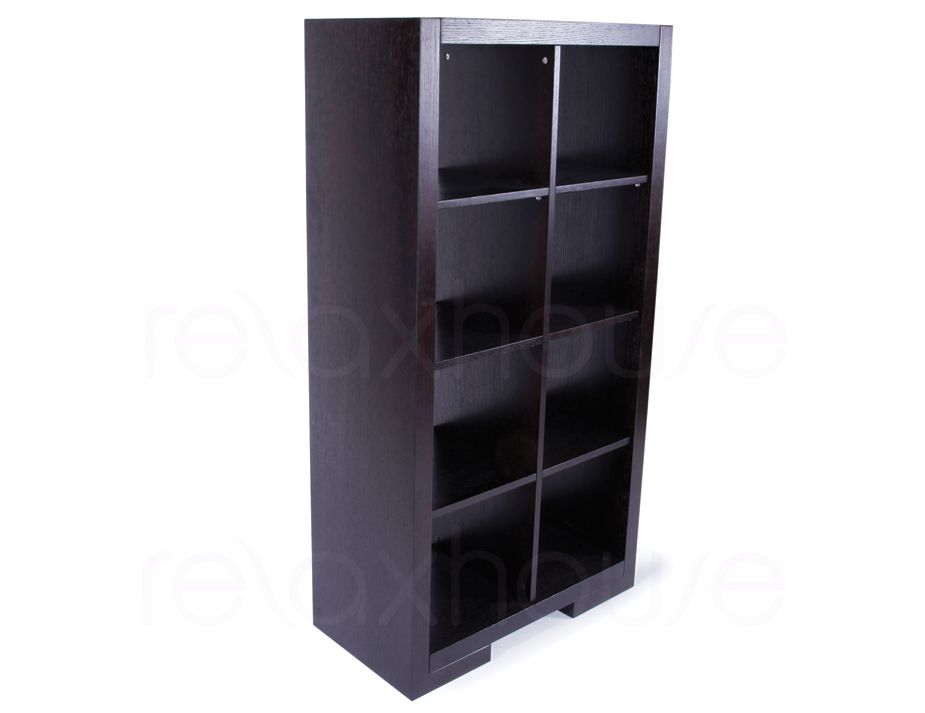 Cube Bookcase Storage Shelving Unit Dark Oak 8 Modules