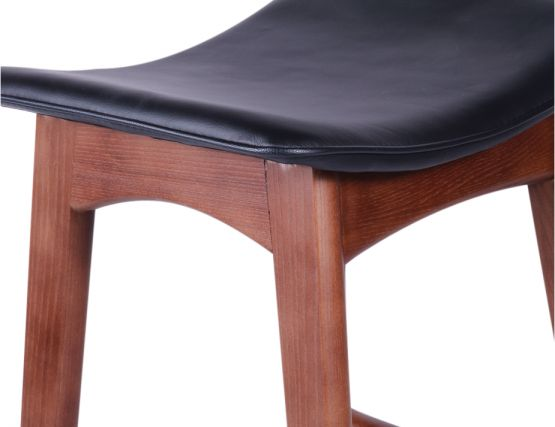 Allegra Stool Walnut Frame   Black Seat3