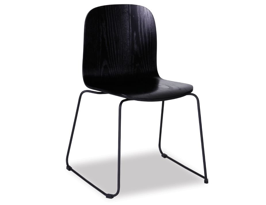 Flip Chair Black Stained American Ash Seat with Black Powdercoated ...