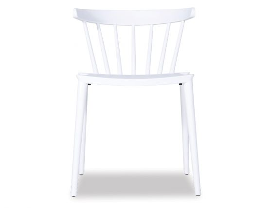 White Spindle Back Plastic Cafe Chair