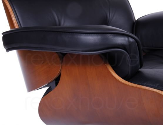 Eames Lounge Chair & Ottoman Black Leather Replica