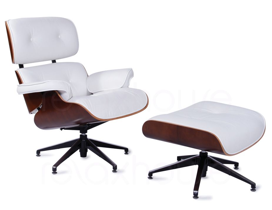 White Leather Eames Lounge Chair & Ottoman Replica