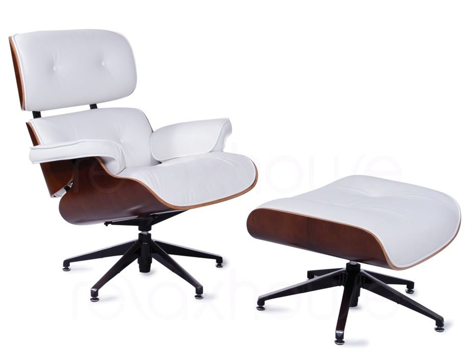 White leather eames lounge chair ottoman replica for Eames chair fake