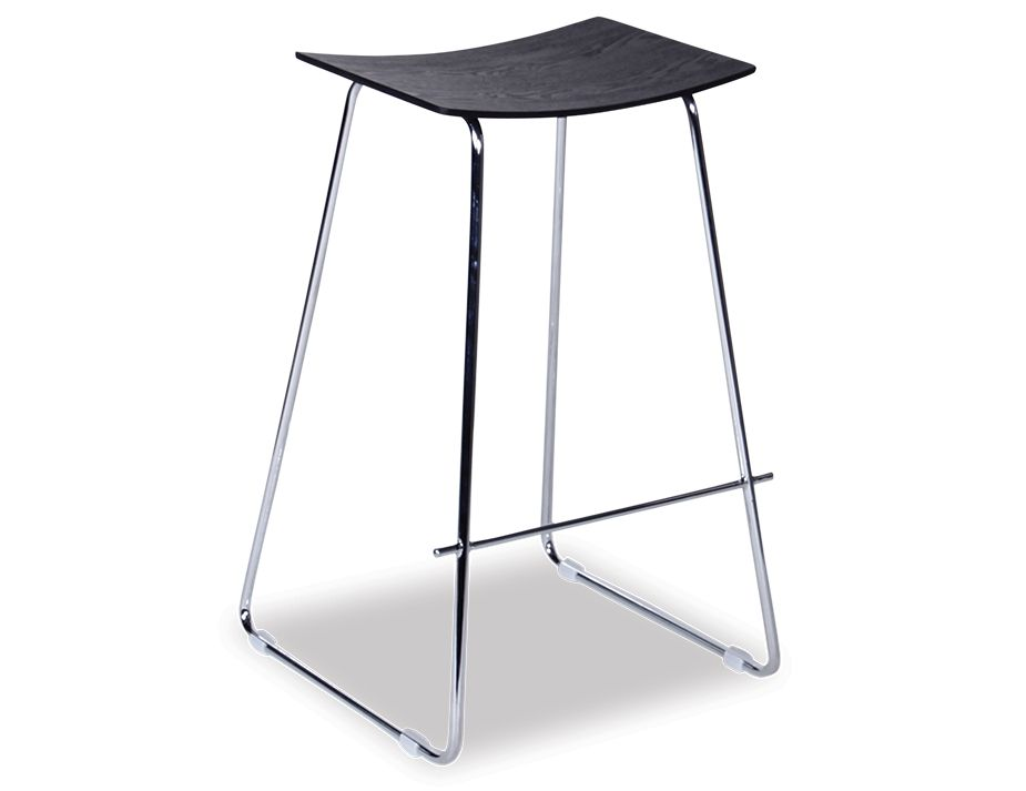 Yvonne Y Potter Stool Chrome Frame Black Wood Seat