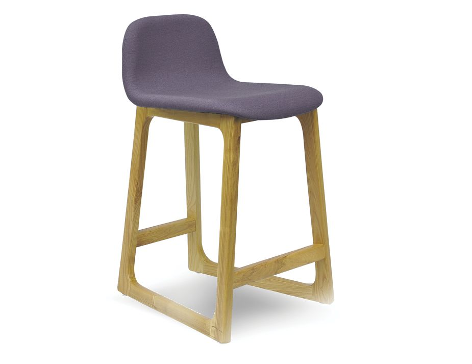 Grey Linen Upholstered Modern Wood Barstool