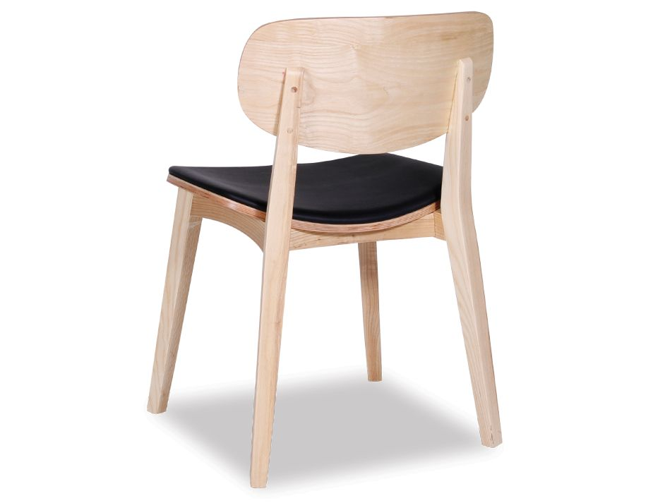 Saki Chair Natural With Black Seat Pad