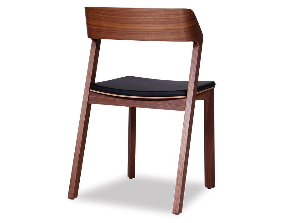 Merano Solid Walnut Timber Dining Chair W Black Pad Ton