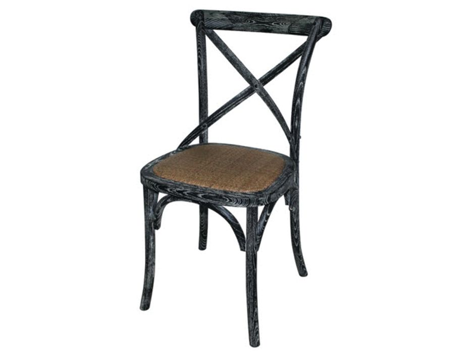 Cross Back French Oak Chair Antique Black