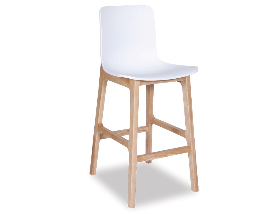 Kitchen Bar Stool With White Seat And Timber Legs