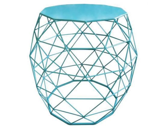 Urban Wire Frame Side Table Blue Solid Top