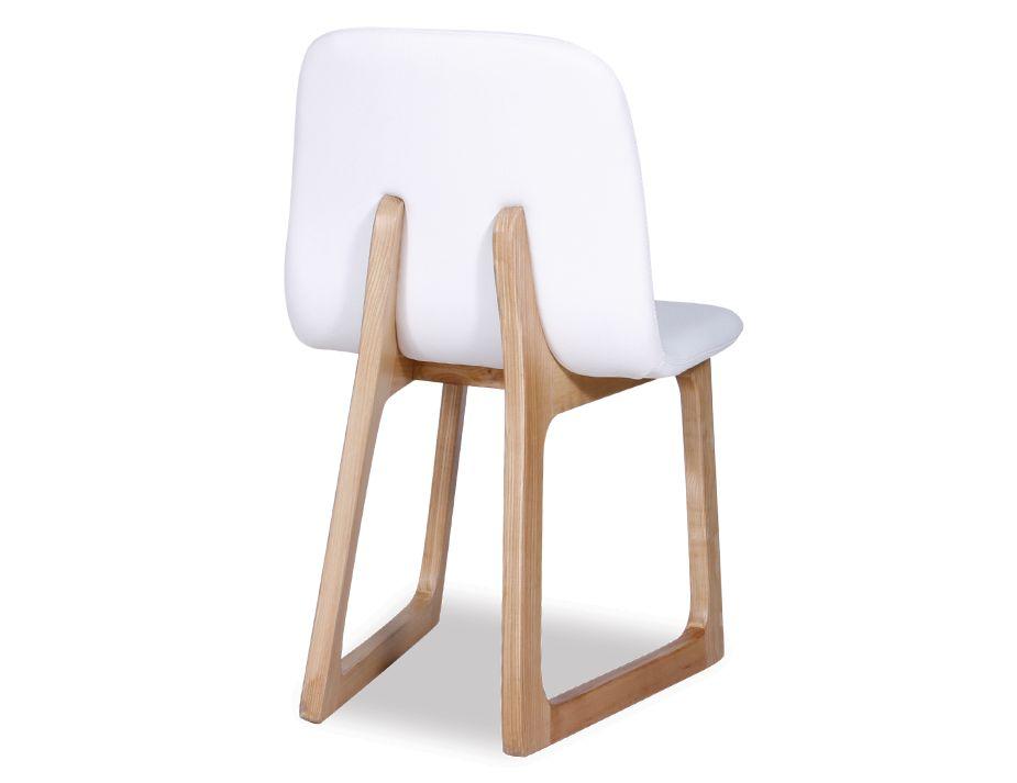 Danish modern white upholstered wood dining chair for White wood upholstered dining chairs