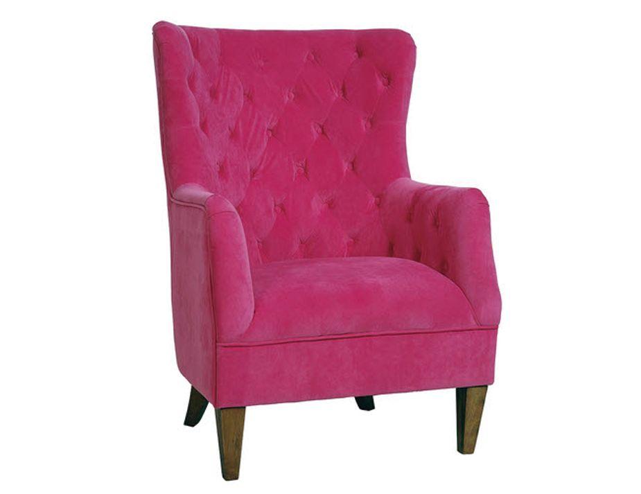 Bright Pink Fuchsia Modern Velvet Armchair