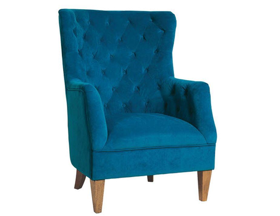 Modern Blue Velvet Tufted Accent Chair