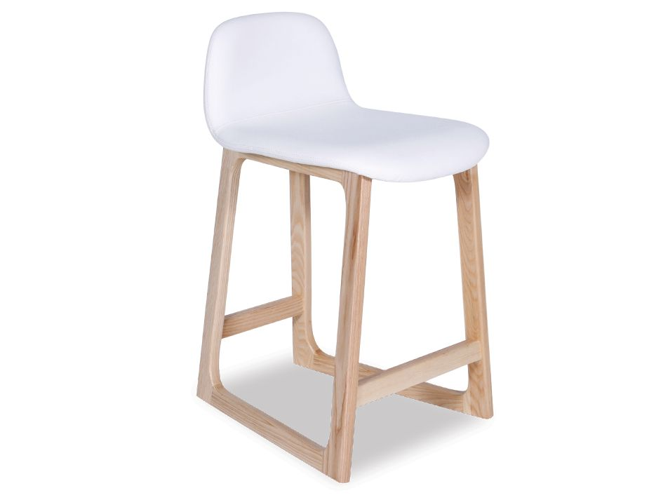 Danish Design White Solid Wood Upholstered Counter Stool