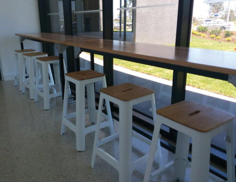 Bar Bench Seating ~ Counter bench wood steel