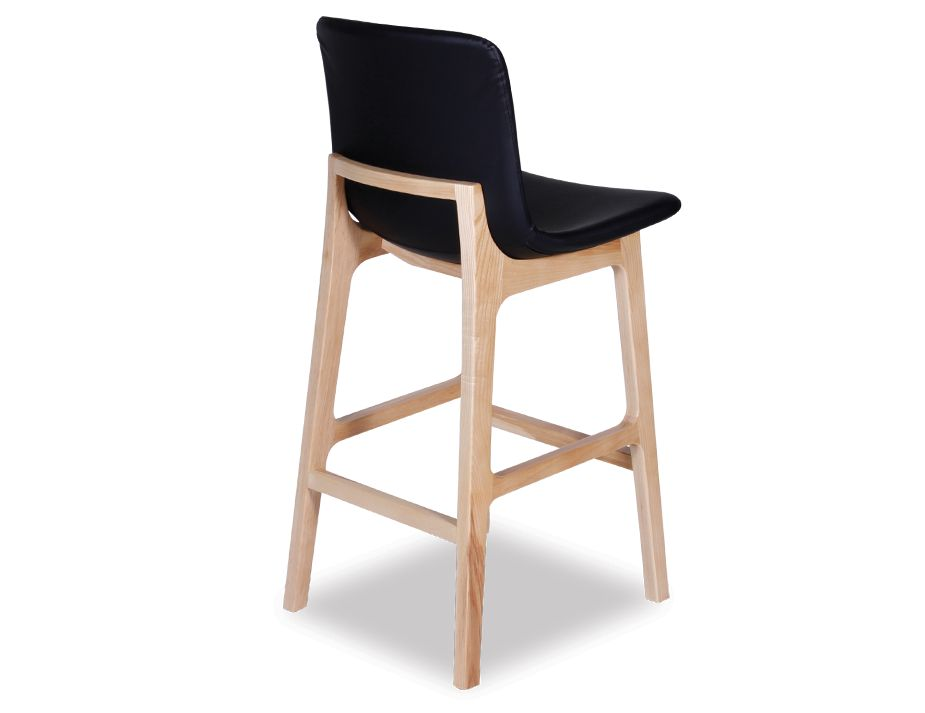 Black Upholstered Timber Kitchen Stool