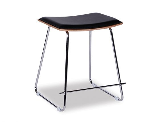 Yvonne Y Potter Low Stool Chrome Frame Black Padded Seat1