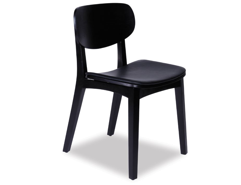 Saki Chair Black With Black Seat Pad