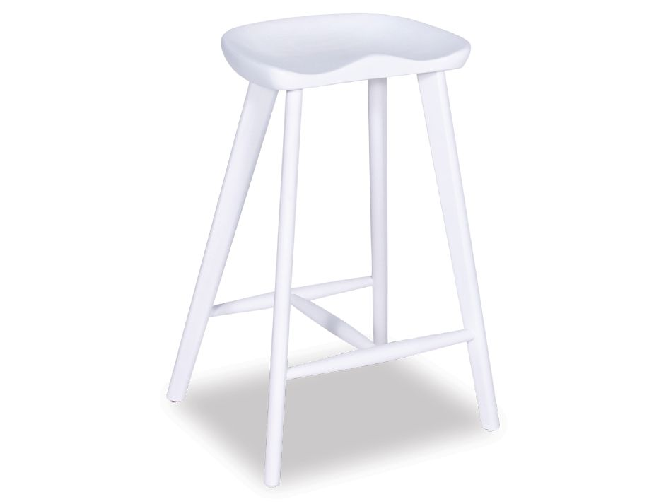 White Saddle Barstool Backless American Ash Wood