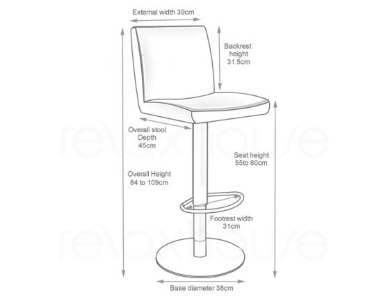 Evelyn Bar Stool White Brushed Bar Stool Mesurments22