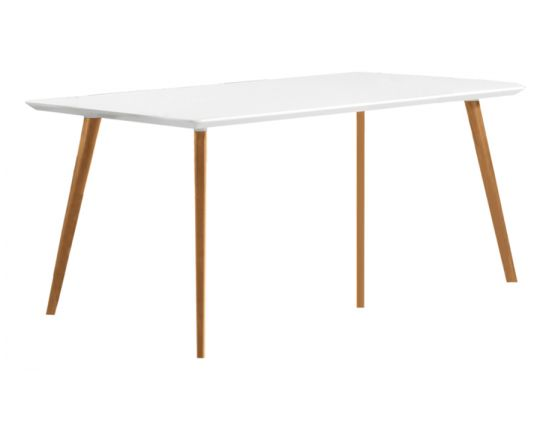 Halo Dining Table Natural Timber Legs White Rectangle Top