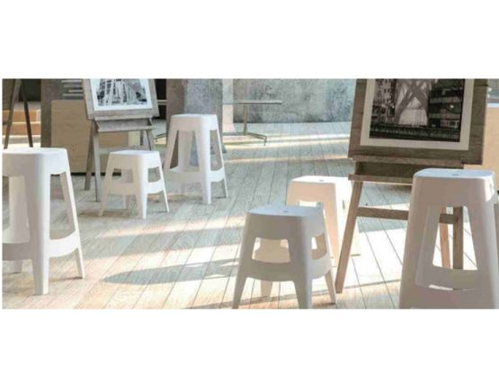 Small White Commercial Bar Stool