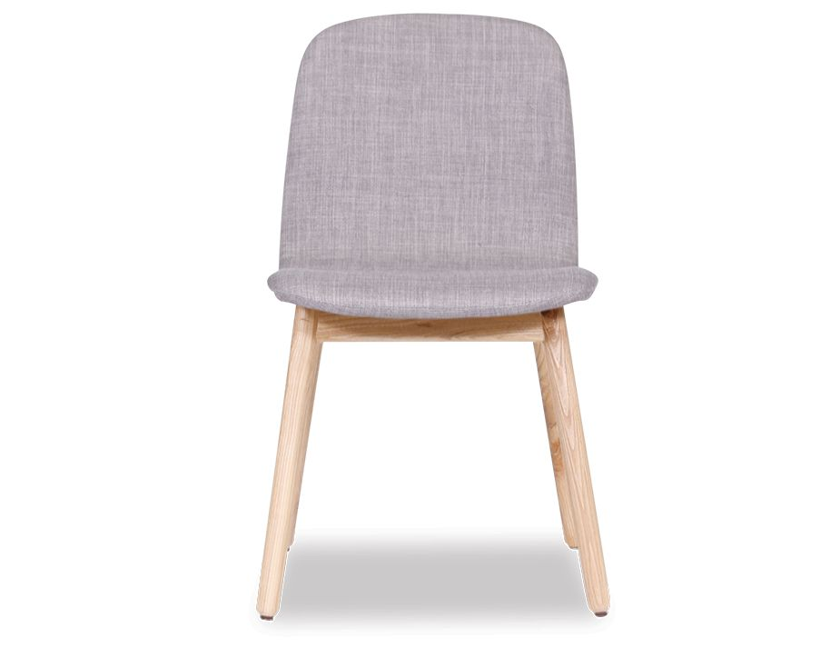 Light Gray Linen Dining Chairs: Scandinavian Timber Grey Padded Dining Chair