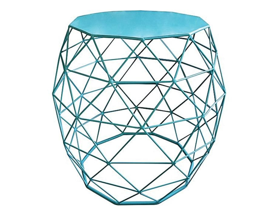 Urban Wire Frame Side Table Blue Flat Top