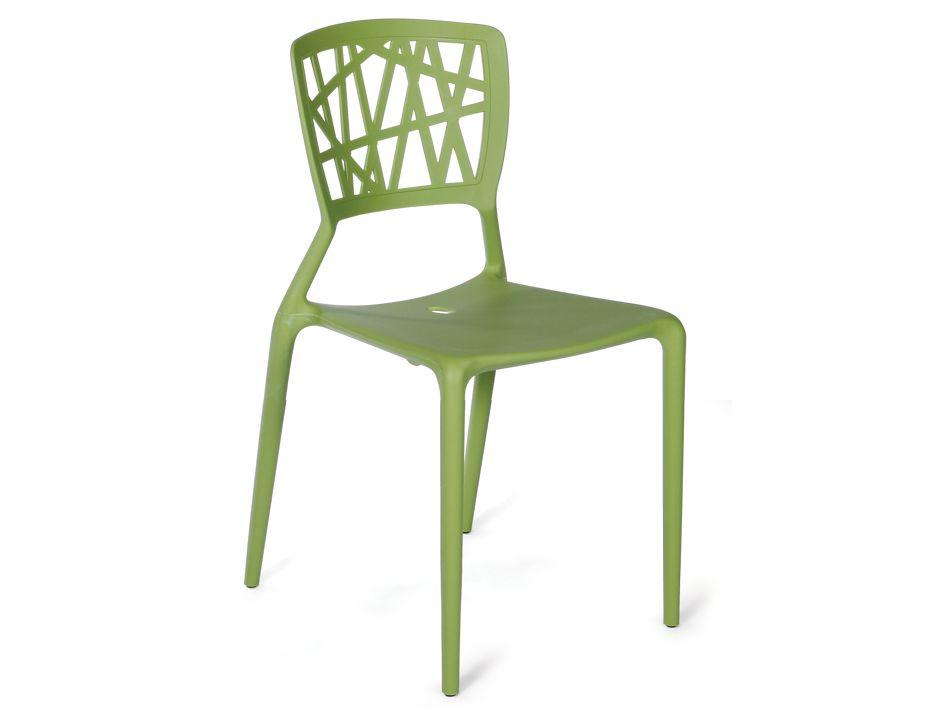 Replica Viento Indoor Outdoor Stackable Plastic Cafe Chair Green