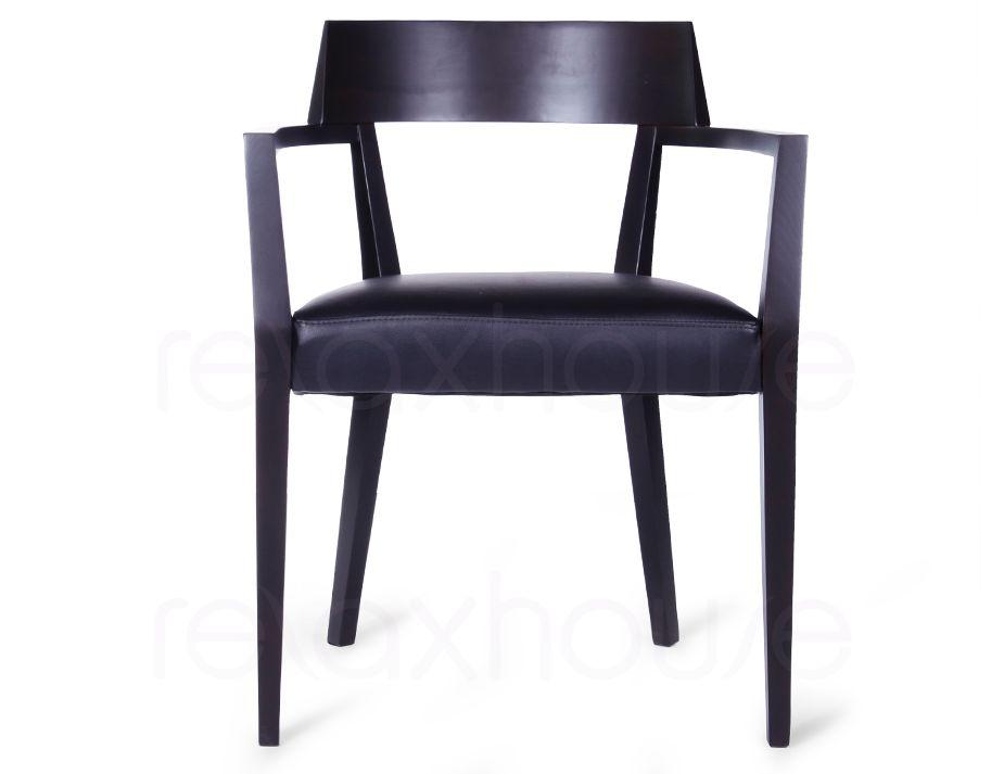 Danish Round Dining Arm Chair Dark Brown Wood Sophia