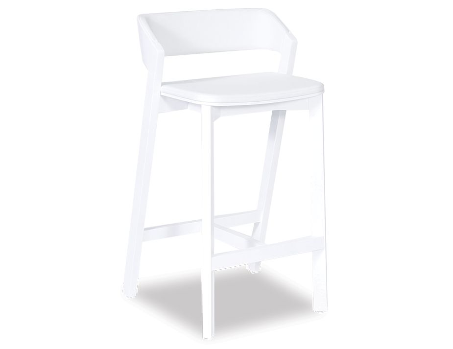 Merano Oak Bar Stool With White Stain And Seat Pad
