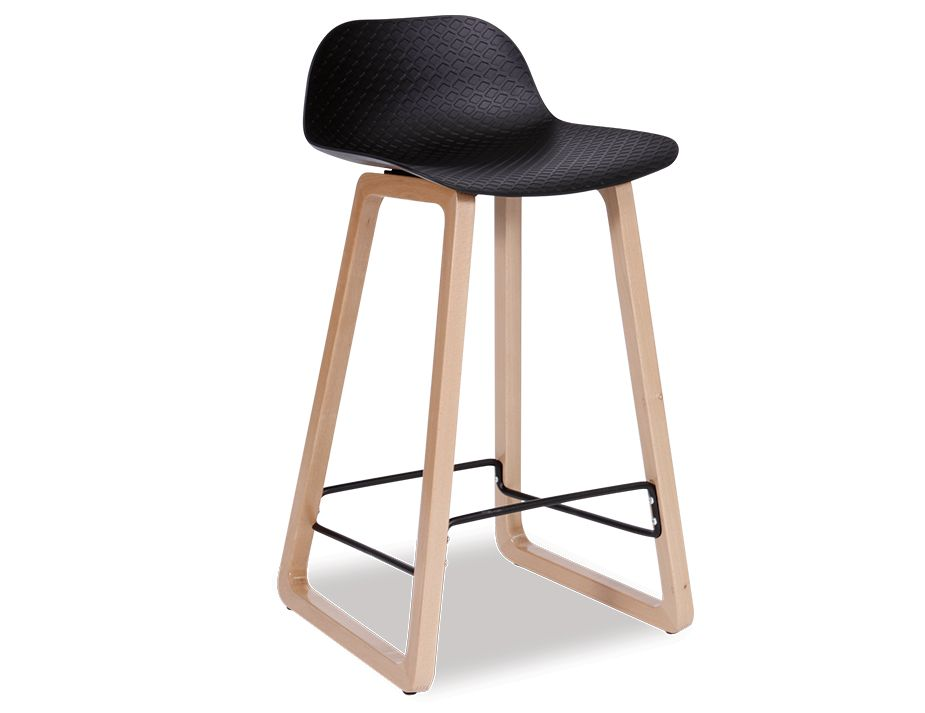 Modern Black And Timber Kitchen Bar Stool