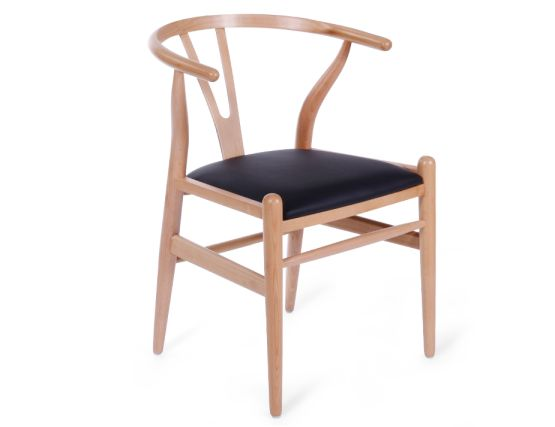 Wishbone Chair Beech Black Pad 1