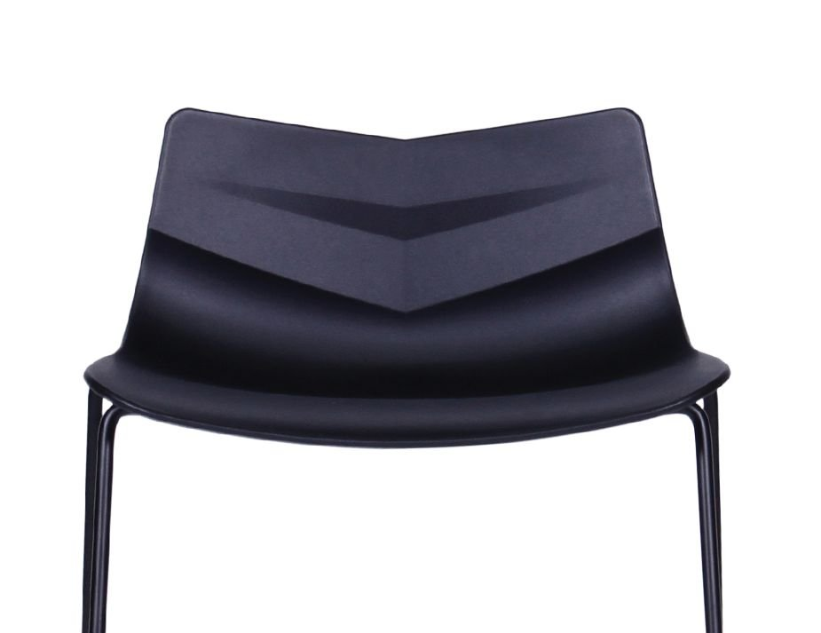 Willow Kitchen Counter Stool Black Contoured Seat With