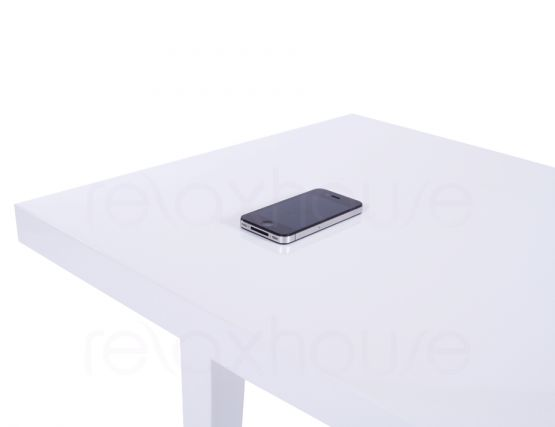 Square Side Table In White High Gloss Bedside Table, End
