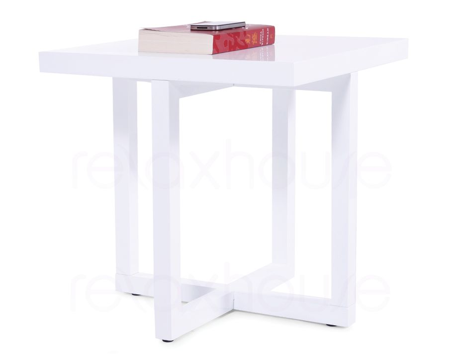 Square Side Table In White High Gloss Bedside Table End