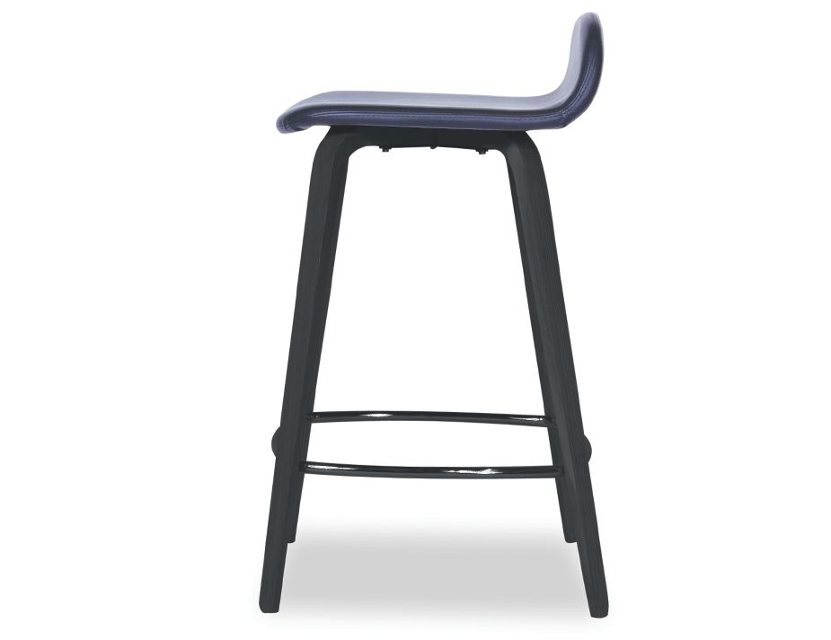 Flip Kitchen Counter Stool Black American Ash With Upholstered
