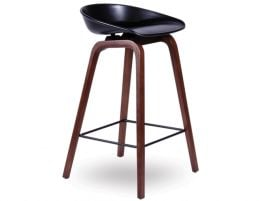 Kobe Stool   Walnut Frame Black Seat2