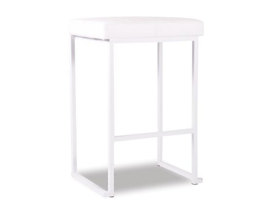 Cantona Bar Stool White Padded Bar Stool   White Frame