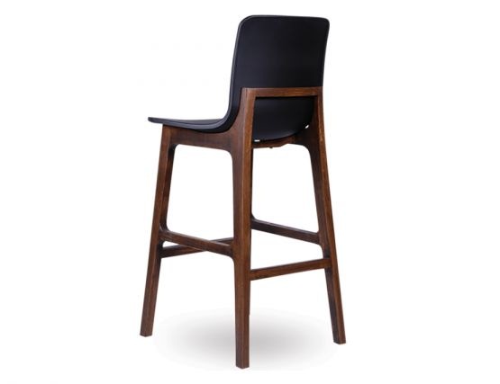 Ara Stool   Black Plastic Walnut4
