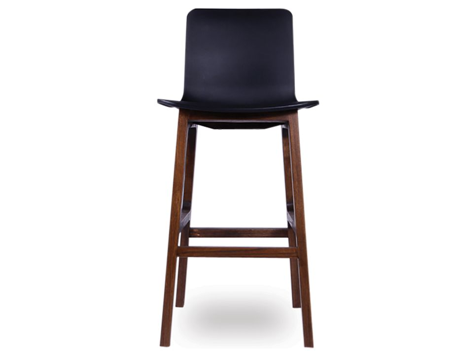 Ara Stool   Black Plastic Walnut