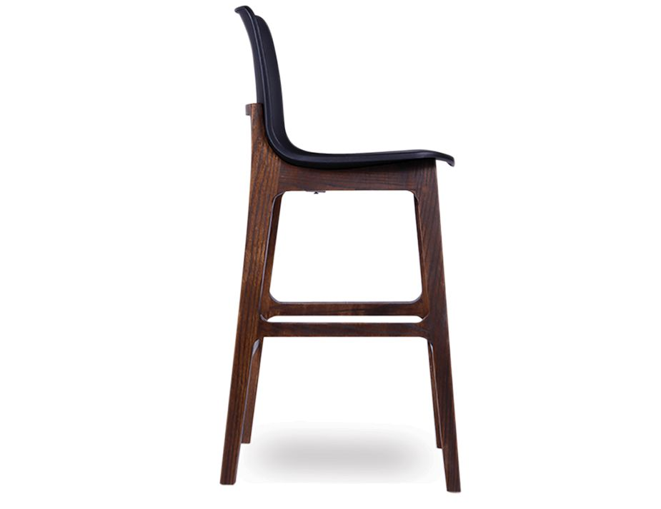 Ara Stool   Black Plastic Walnut3