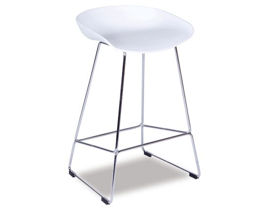Kobe Stool  Chrome Frame   White Shell Seat
