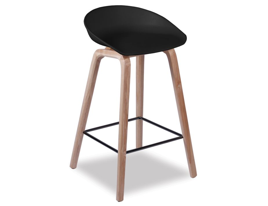 Kobe Stool Natural American Ash Frame And Black Shell Seat