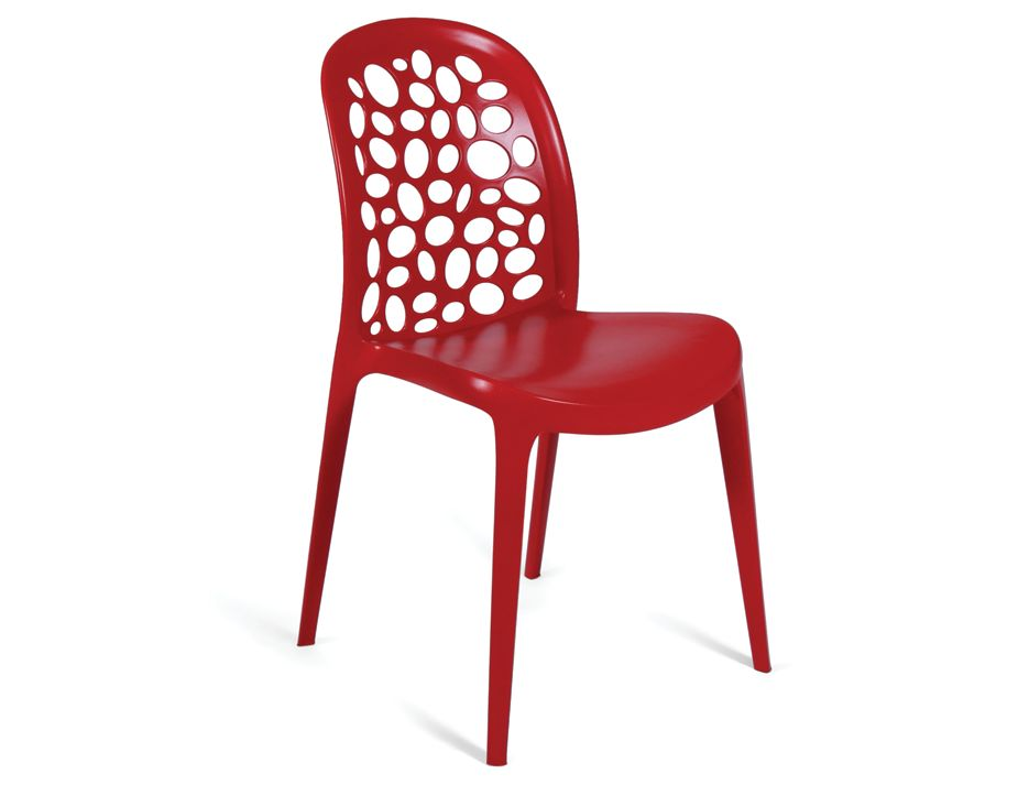 Moon Injection Moulded Thermoplastic Cafe Chair Red